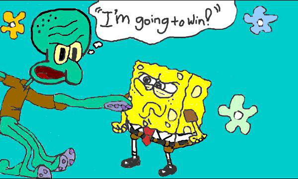 Squidward + Spongebob by MissFlorah