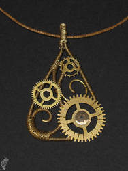 Wire and Cogs pendant by steelraven
