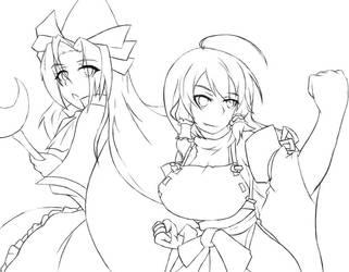 Touhou - Miko Hakurei and Mima Sketch by Altronage