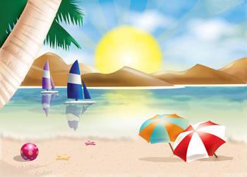 Beach Vacation Scene by Biklar