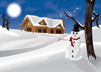 Holiday Snow Scene by Biklar