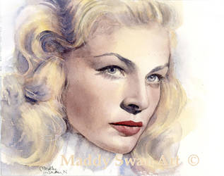 Lauren Bacall - watercolour by MaddySwan