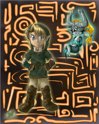 Link and Midna  -art by LiKovacs