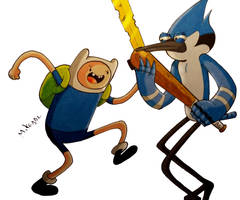 Finn Vs Mordecai by MikeES