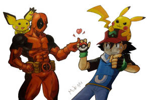 Ash and Pikachu Vs Deadpooly and Pichu by MikeES