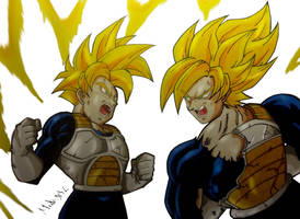 Gohan and Goku training by MikeES