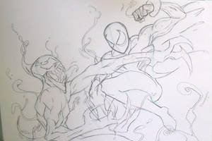 Black Suit Spiderman Vs Carnage Sketch by MikeES