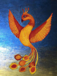Phoenix (Japanese stone pigments and mica) by genetux