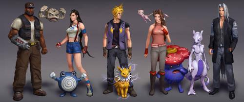 Final Fantasy 7 + Pokemon by AndrewRyanArt