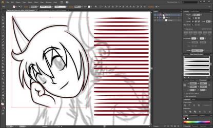 Basic Lineart Brush Set Adobe Illustrator ~ 50pts by cloudyrei