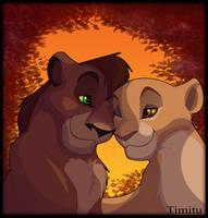 Kovu and Kiara at Sunset by Timitu