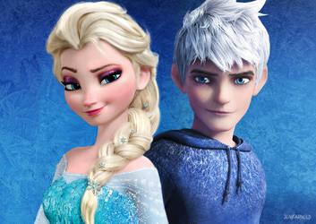 Elsa and Jack Frost V1 (Re-done) by JonFArnold