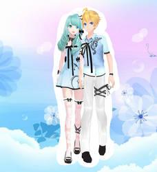 [MMD+DL] Couple Of Love Miku and Len by 01mikuxlen02