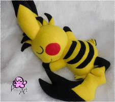 Custom cuddling Pikachu by PinkuArt