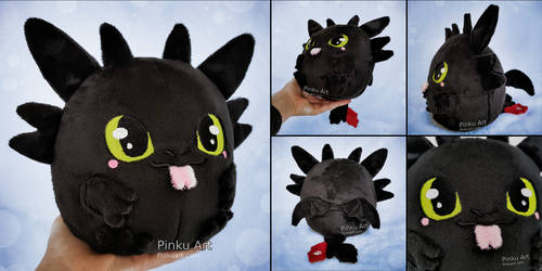 Toothless Blob plush I How to train your dragon by PinkuArt