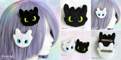 Toothless and Lightfury plush hairclip I Httyd by PinkuArt