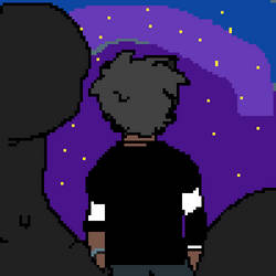 a dude staring at the sky. by DanishTheBaddrawer