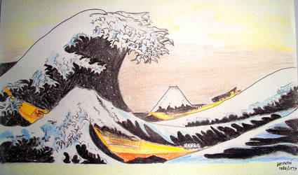 The Great Wave Colored Pencil by scodex