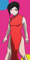 Red dress with lines by fighterxaos