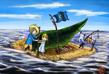 LoZ: On bord with his sister by Shimokomoriya