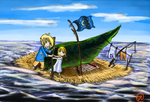 LoZ: On bord with his sister by Shimokomoriya