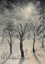 Winter Night - Watercolor by Oksana007