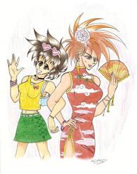 Satoshi and Shigeru as Girls by Chiba-chan
