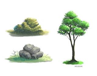 Bushes Rock Tree by mclelun