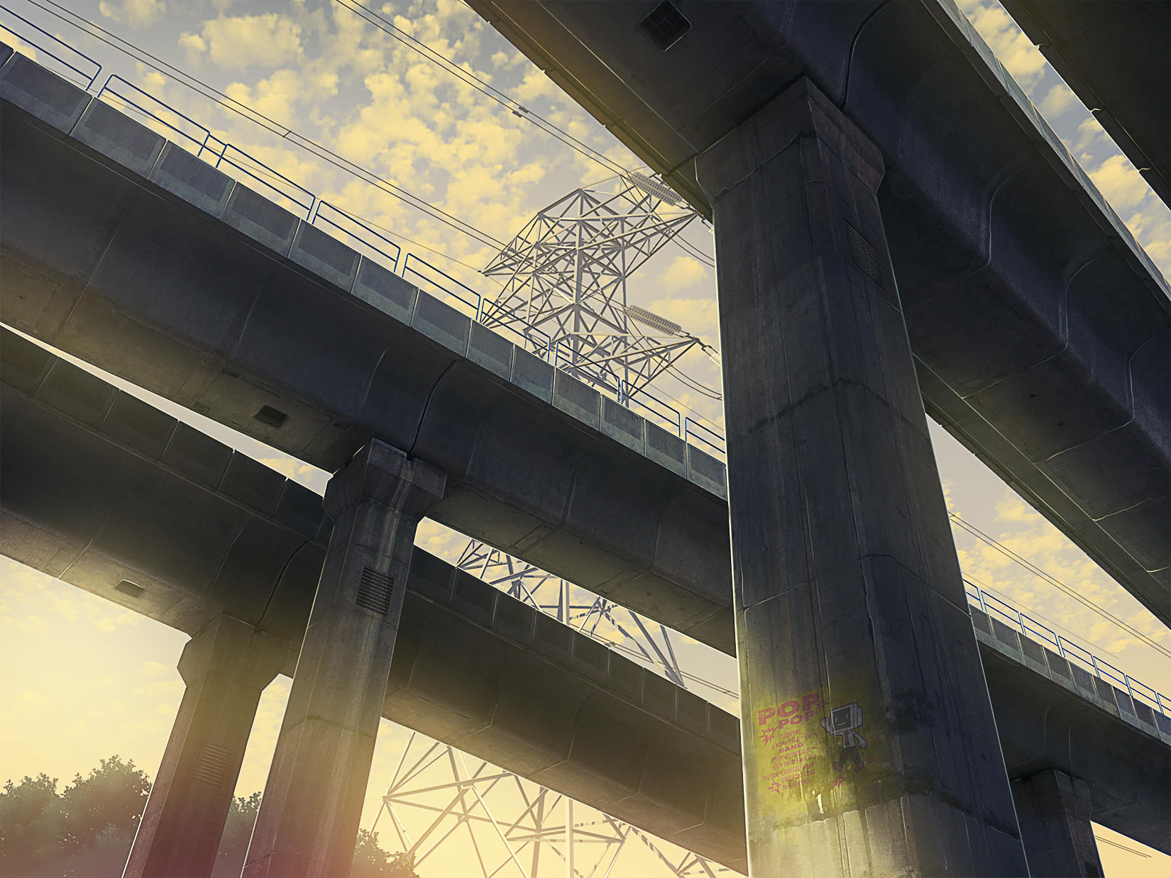 anime evening elevated railway
