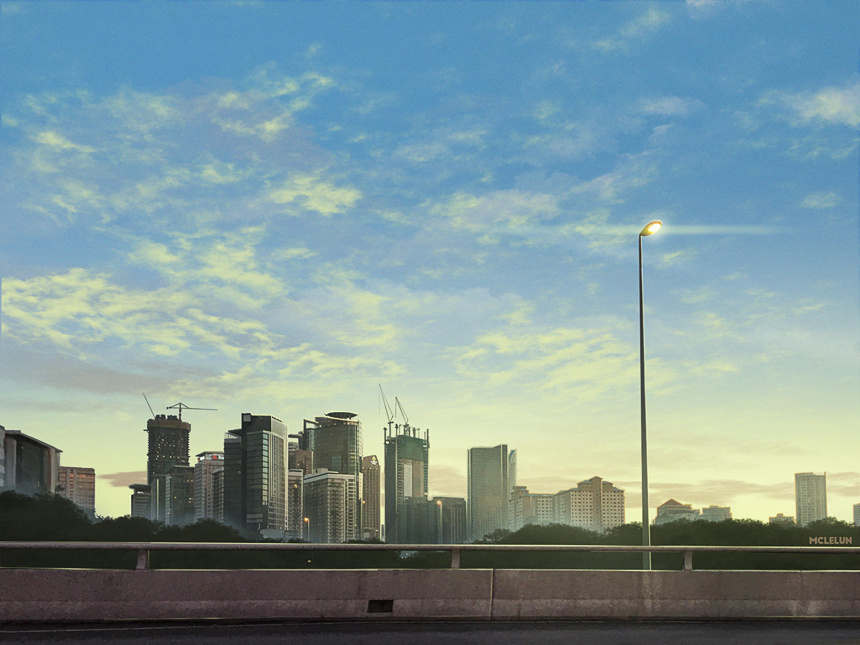 anime evening cityscape
