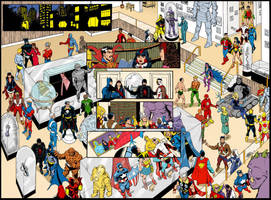 Cosmic Crossover - Double Page Spread COLOR by roygbiv666