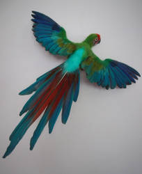 Needle Felted Life-Sized Military Macaw by FeatheredFauna