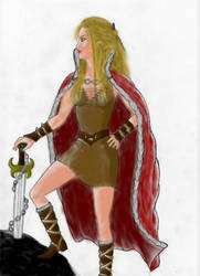 Norse Warrior Queen_colored by Metal-Valkyrie