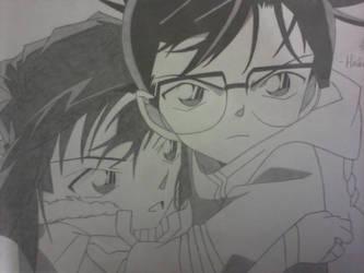 Edogawa Conan and Haibara Ai by yuukadesu