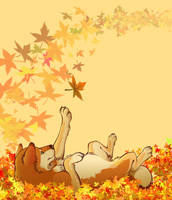Playing in the leaves by Autumn-Sunrise