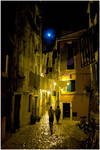 Moon over a Rovinj Street by batmantoo