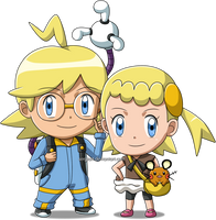 Pokemon - Chibi Clemont/Lem and Bonnie/Clem by SergiART