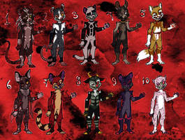 Adoptables- Maniacs and psychopath theme 3 LEFT by CelesticAdopts