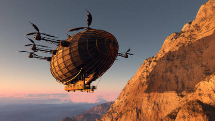 Airship at sunset by daleziemianski