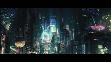 Cyberpunk City (cinematic frame #5) by artursadlos