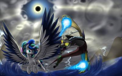 Fusion clash!  Celuna versus Discord! by Dreatos
