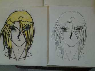 Male Profile Colored and Original by genozyber-astaroth