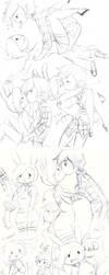 Adventure Time sketches by KuroiiFox