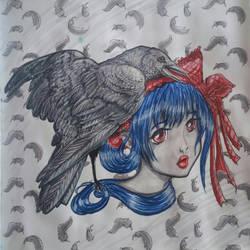 Raven Girl by NightfallSiren