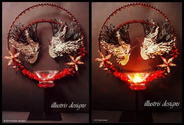 Japanese Cranes sculpture / suncatcher / candle by illustrisdesigns