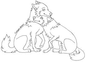 Wolf Couple Lineart :MxF: by Spakitty