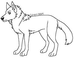 Wolf Lineart Free Use by Spakitty