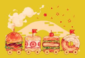 sandwich train + donut by reikureii
