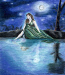 Elf Maiden by Moonlight by Kryschenn
