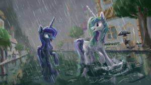 Running in the rain by Plainoasis